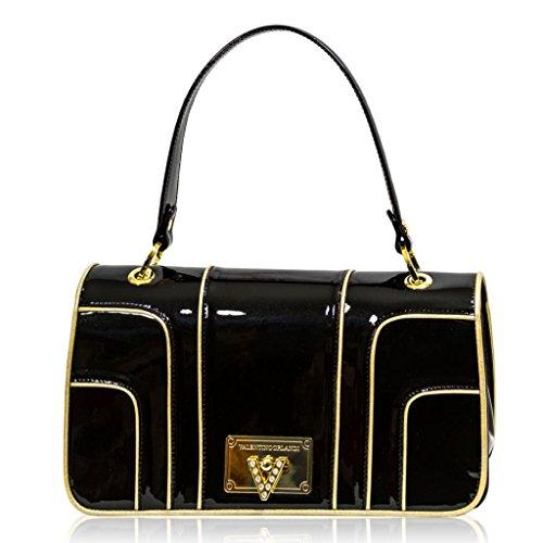Valentino Orlandi Italian Designer Black/Gold Patent Leather Top Handle Bag