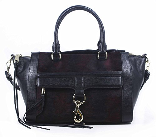 Rebecca Minkoff Bowery Satchel Tote Crimson Black Leather Shoulder Bag