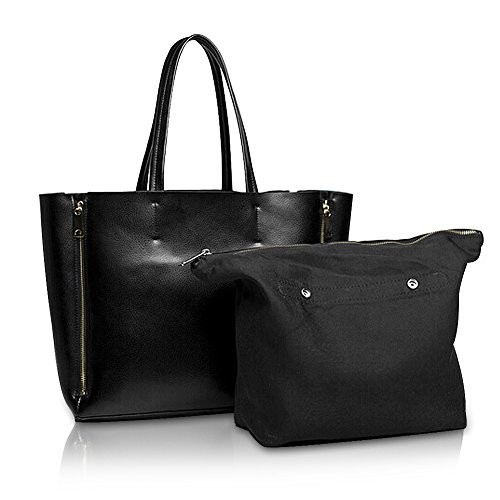 Kattee Women's Genuine Leather Double Zip Large Tote Shoulder Bag