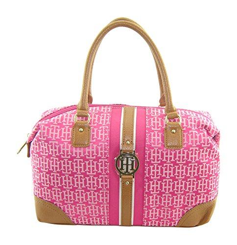 Tommy Hilfiger Bowler Satchel Handbag Pink Multi