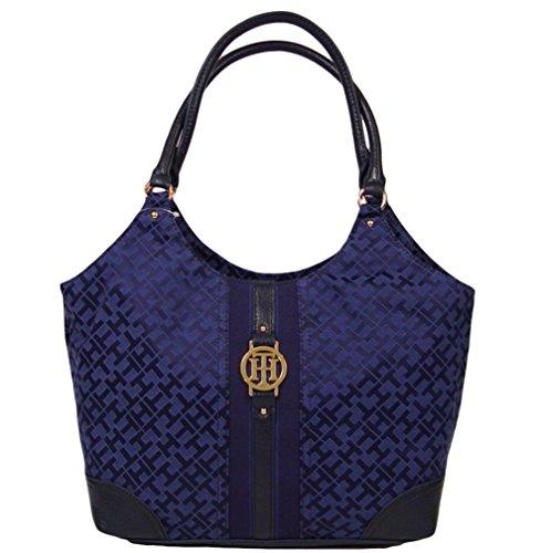 Tommy Hilfiger 4 Post Shopper Tote Bag Handbag Purse (Navy Blue)