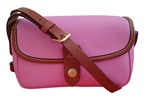 Dooney & Burke Women Small East/ West Crossbody Flap Shoulder Bag Pink