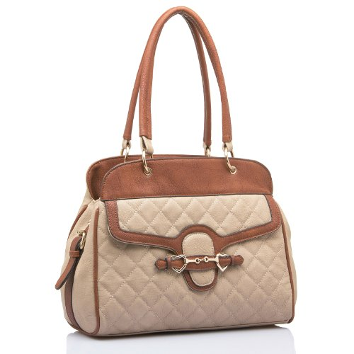 MG Collection ELVA Quilted Brown / Beige Dual Tone Top-Handle Bag Tote Purse