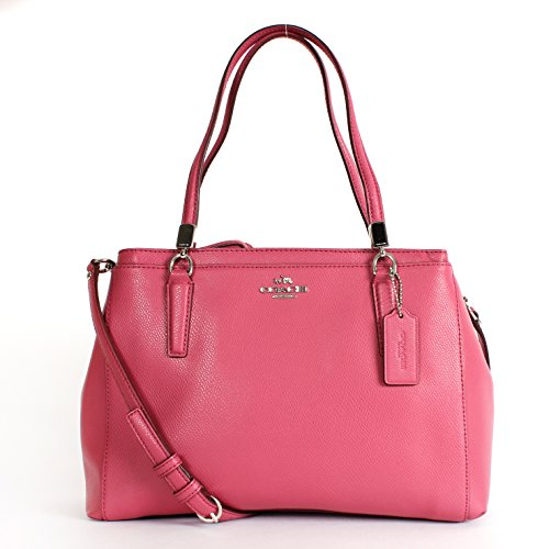 Coach 34673 Textured Leather Christie Satchel Sunset Red