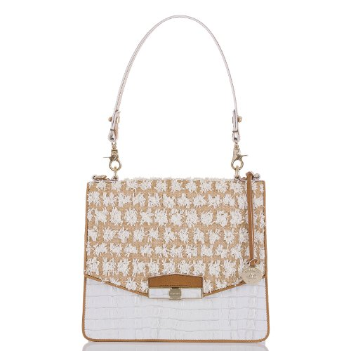 Brahmin Bora Collection Ophelia White Croc Leather Handbag