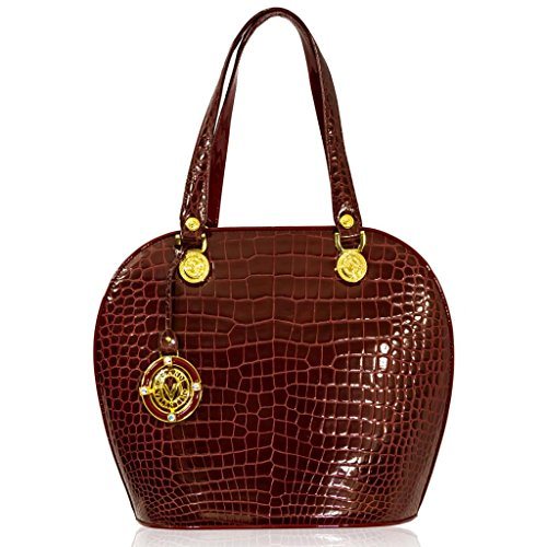 Valentino Orlandi Italian Designer Burgundy Croc Leather Large Bowling Bag