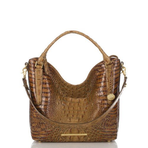 NEW AUTHENTIC BRAHMIN NORAH EXOTIC EMBOSSED LEATHER CONVERTIBLE NORAH HOBO (Toasted Almond)