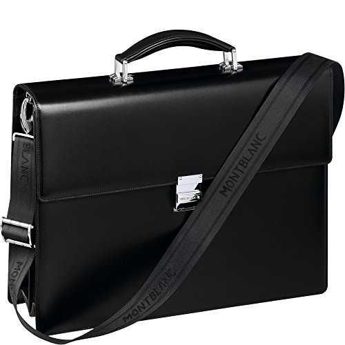 MONTBLANC, GENUINE Leather Briefcase / Attaché / Satchel with Detachable Shoulder Strap. Double Gusset . Made in Switzerland
