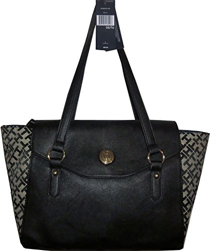 Tommy Hilfiger Handbag Satchel Bag Canvas Black XXL