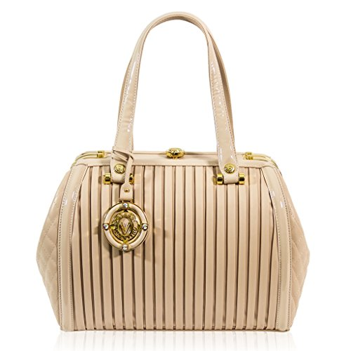 Valentino Orlandi Italian Designer Nude Plisse Textured Leather Jeweled Purse Doctor Bag