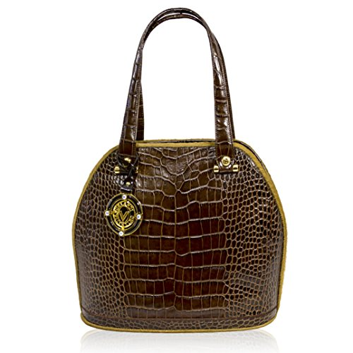 Valentino Orlandi Italian Designer Brown Croc Leather Purse Bowling Bag