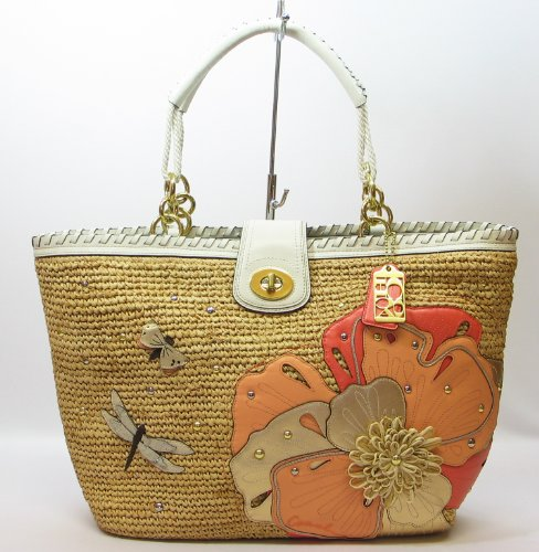 Coach Hamptons Weekend Straw Applique Limited Edition Tote 19344 Natural