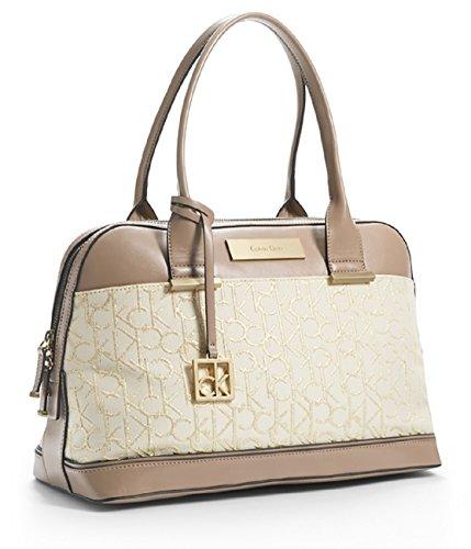 Calvin Klein Candice Logo Jacquard Lurex Dome Satchel Bag Handbag Purse (Stone Beige)