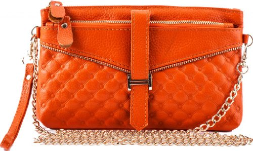 Heshe Fashion Genuine Leather Purse Shoulder Handbag Clutch Bags with Golden Chain Cross Body
