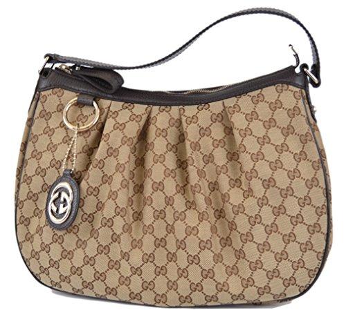 Gucci 364843 Women's Brown Canvas GG Charm Guccissima Sukey Purse