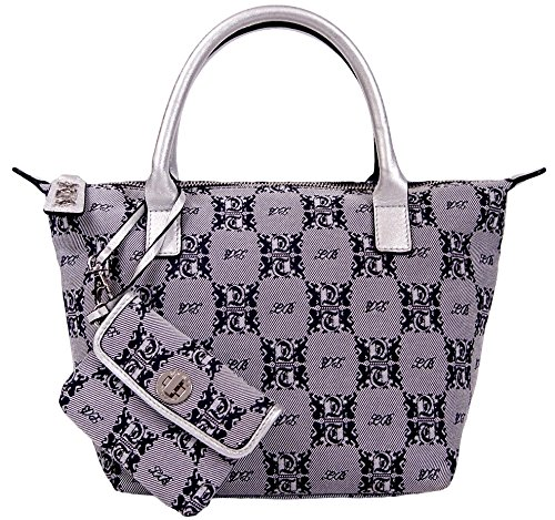 Leonello Borghi Signature Genuine Leather Trim Tote Bag Handbag (Navy / Silver)