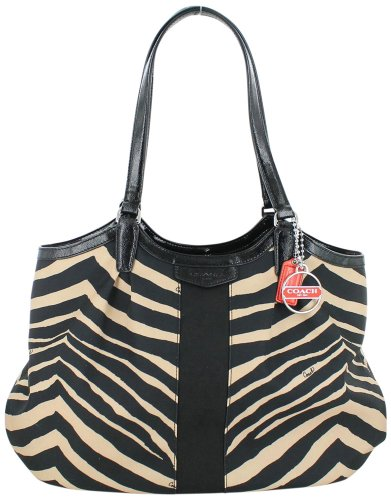 Coach Signature Stripe Zebra Print Devin Shoulder Bag 24022 Tan Black