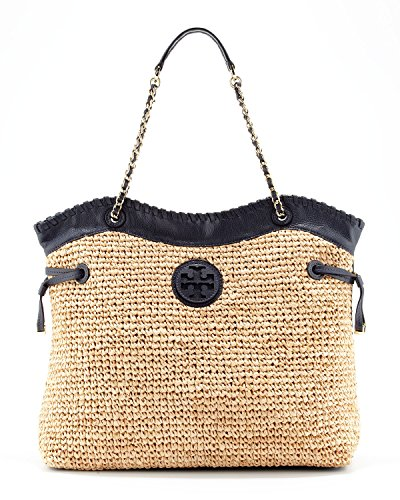 Tory Burch Marion Straw Slouchy Tote in Natural and Tory Navy