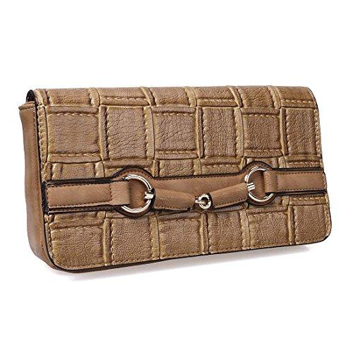 BMC Womens PU Faux Leather Woven Texture Fashion Clutch Shoulder Handbag