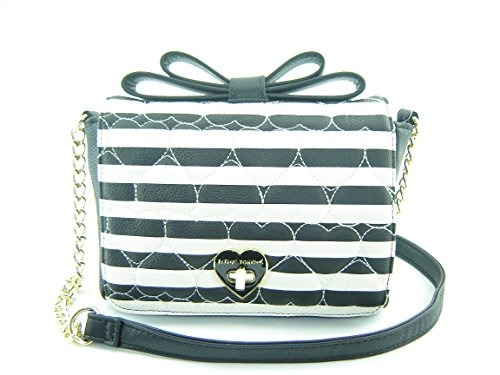 Betsey Johnson Bow Top Xbody Crossbody Handbag Black Creme Multi