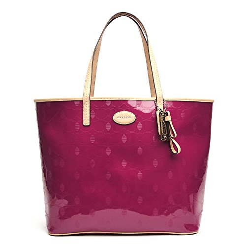 Coach Metro Embossed Leather Tote 31944 Silver/cranberry