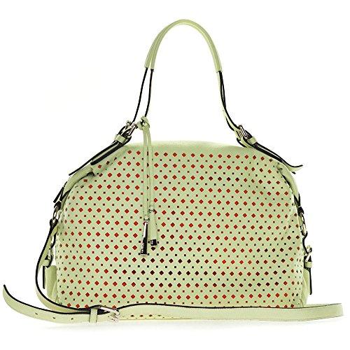 Cromia Italian Made Pistachio Green Perforated Leather Carryall Satchel Handbag