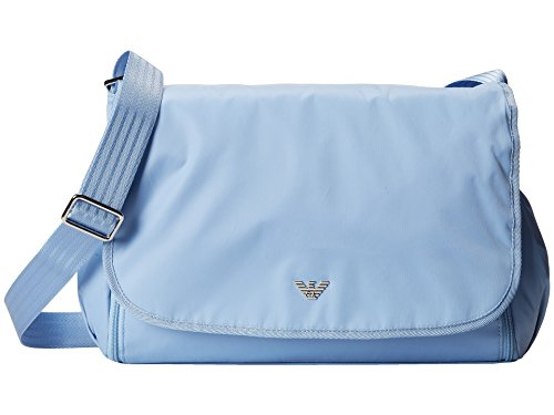 Armani Junior Diaper Bag – Bottle Holder and Changing Pad Included – Light Blue