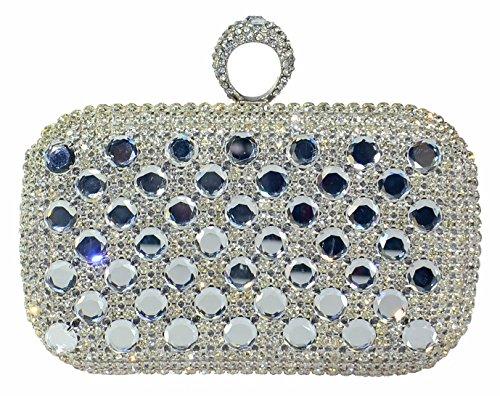 George Versailles Crystal Clutch Baguette Bag Women Evening Handbag with Detachable Chain