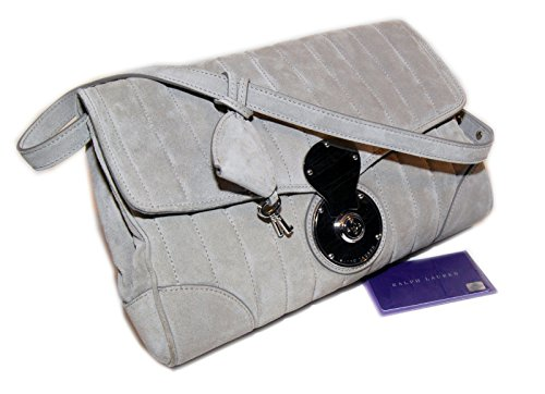 Ralph Lauren Purple Label Collection Women Suede Leather Clutch Purse Grey Italy