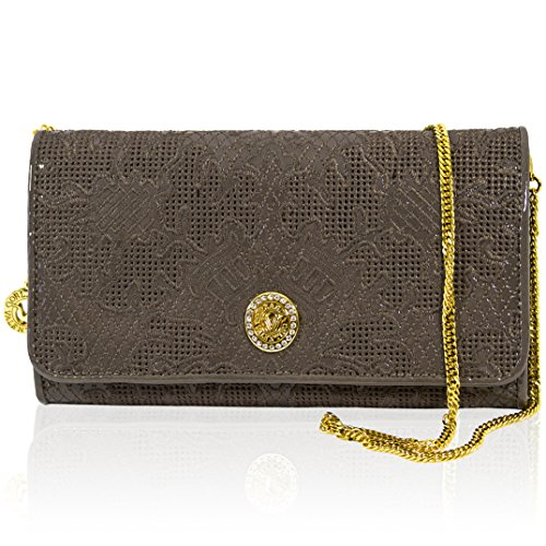 Valentino Orlandi Italian Designer Toffee Embroidered Leather Wallet Clutch w/Chain