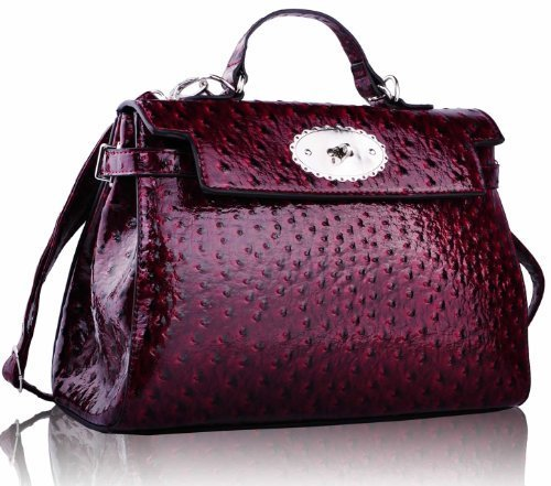 KCMODE Womens Ostrich Look Office Grab Handbag Ladies Top Handle Office Bag Satchel Burgundy Red