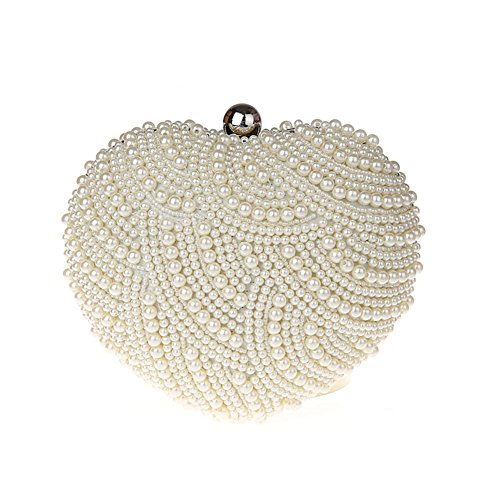 TopTie Heart Shape Evening Clutch, Faux Pearl Encrusted Party Box