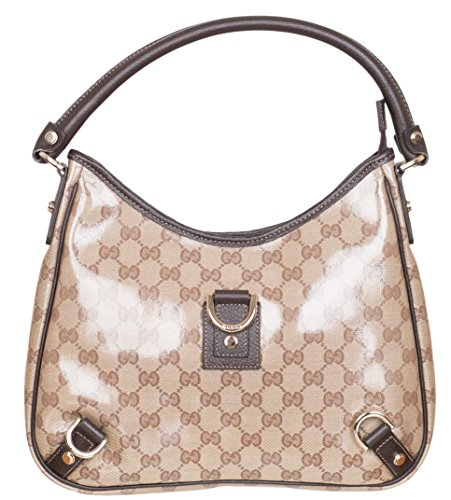 Gucci Women's Crystal Coated GG Guccissima D Ring Beige Purse Shoulder Bag Hobo