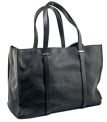 Women's Diesel Black Gold Black Leather Buck 5 Shopping Tote Bag