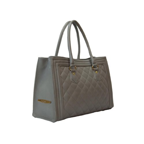 Pierre Cardin PC 1316 GRIGIO Made in Italy Leather Light Grey Zip Structured Satchel