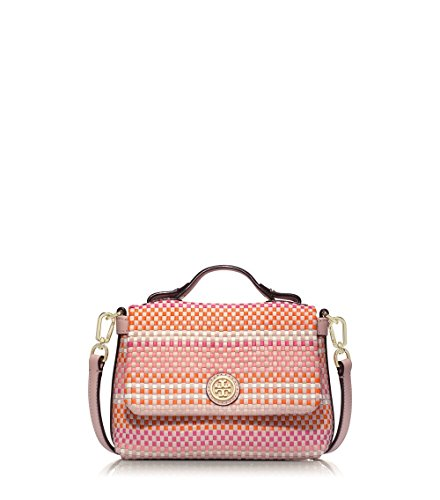 Tory Burch Jane Woven Leather Small Crossbody Bag, Pink Multi/Light Oak