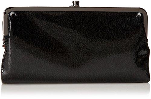 HOBO Pebble Patent Lauren Wallet, Black Pebble Patent, One Size