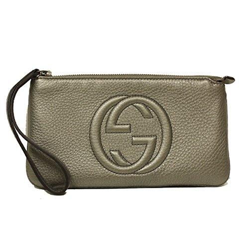 Gucci Soho Gray Metallic Leather Wristlet Wallet Clutch 295840