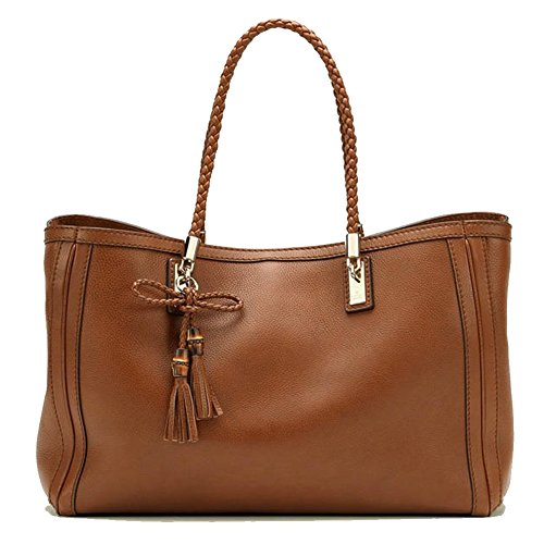 Gucci Bella Brown Pebbled Leather Braided Handle Tote 269945 A7M0G