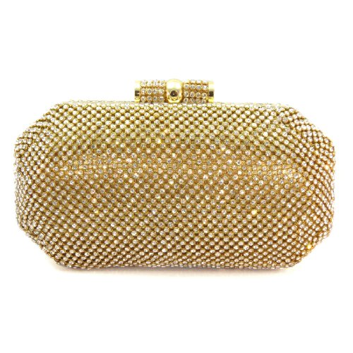 Diva Crystal Pave Hard Case Evening Clutch Handbag with Detachable Chain (Gold)