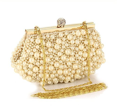 Pearl Diamond Chain Purse Evening Small Bags for Women Bridal Wedding Bag Ladies Golden Clutch