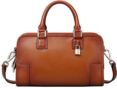 Heshe Cowhide Top Layer Soft Leather Vintage Top-handle Shoulder Travelling Business Handbag
