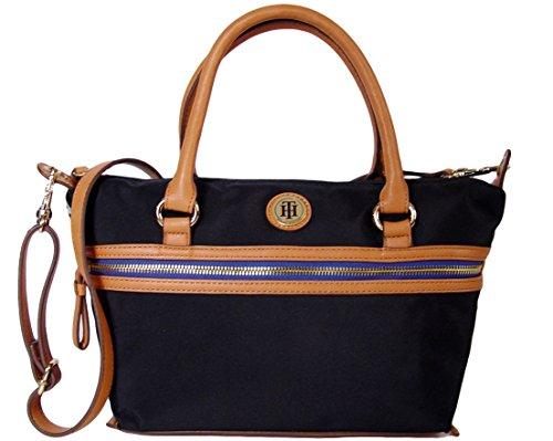 Tommy Hilfiger Satchel Tote Cross-body Bag Handbag Purse, Black