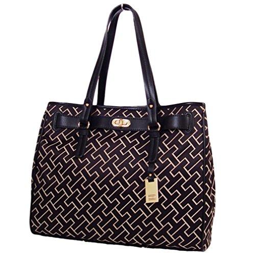 Tommy Hilfiger Large Tote Bag Handbag Purse, Black / Beige