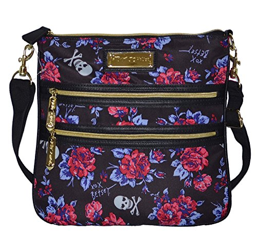 Betsey Johnson 2 Zip Crossbody Bag Handbag Purple