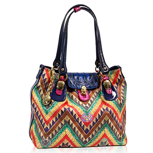 Marino Orlandi Italian Designer AZTEC Printed Leather Large Tote Structured Bag