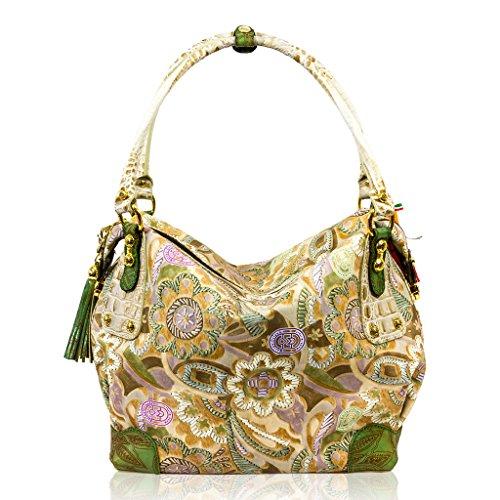 Marino Orlandi Italian Designer JAPA Floral Beige Leather Large Purse Bag