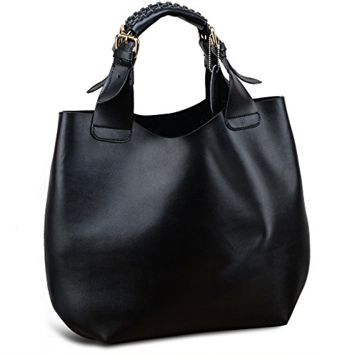 Yahoho Women's Soft Genuine Leather Shopper Bag Double Top Handle Handbag Shoulder Bag