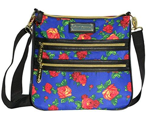 Betsey Johnson 2 Zip Crossbody Handbag Purse Roses Multi