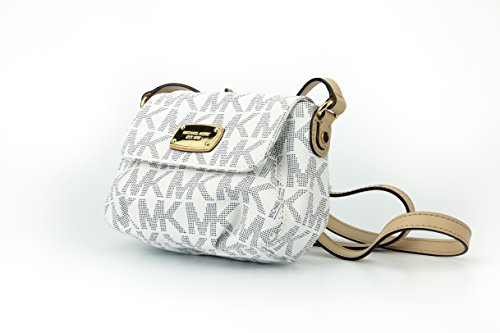 Michael Kors MK Signature PVC Small Flap Crossbody Bag – Navy & White